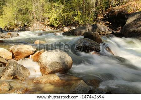 little cascades Tenaya creek at Yosemite national park in California - stock photo