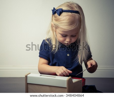 Little cashier - stock photo