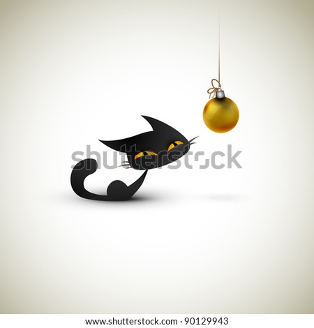 Little Cat Excited About Christmas Globe   Great Greeting for Pet Owners - stock photo