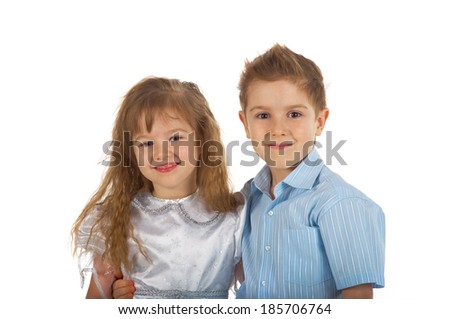 little caucasian boy and girl hugging isolated on white