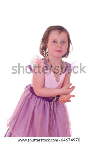 Little caucasian princess girl with pink dress, against white background - stock photo