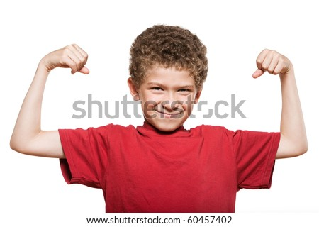 little caucasian strong boy portrait showing muscles mischief isolated studio on white background - stock photo