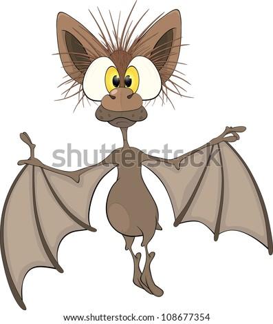 Little cheerful bat.Cartoon - stock photo