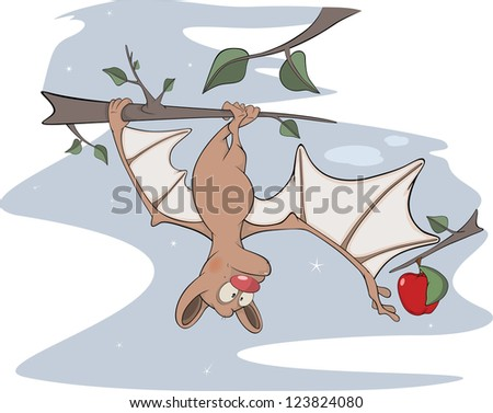 Little cheerful bat. Cartoon - stock photo