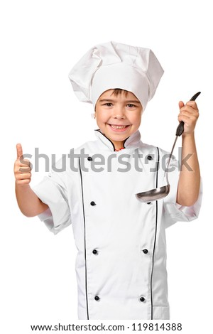 Little Chef - happy thumbs up. Smiling and cheerful chef, cook or baker in uniform with ladle. Isolated on white - stock photo