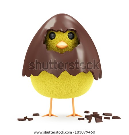 Little Chicken in Broken Chocolate Easter Egg isolated on white background - stock photo
