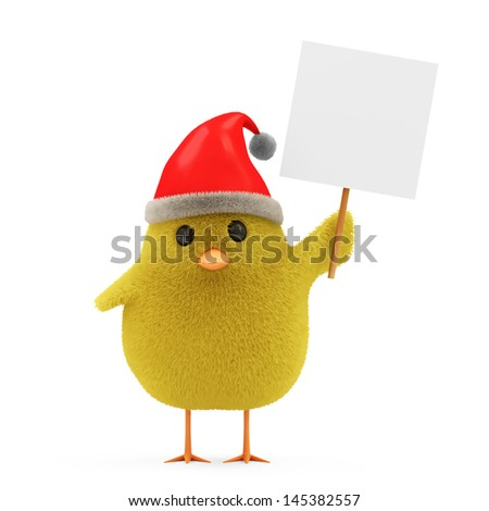 Little Chicken Santa with Blank Board and Hat isolated on white background