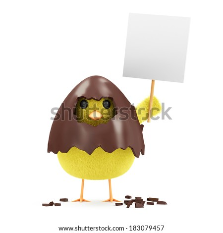 Little Chicken with Blank Board in Broken Chocolate Easter Egg isolated on white background