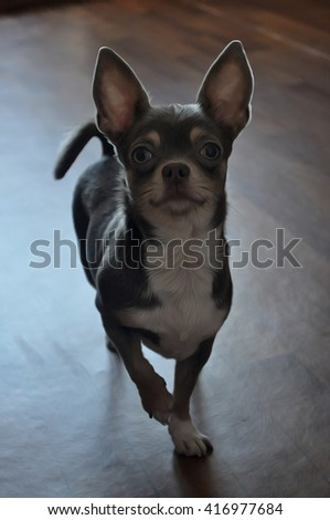 Little chihuahua puppy. Creative digital illustration with small dog on the floor.