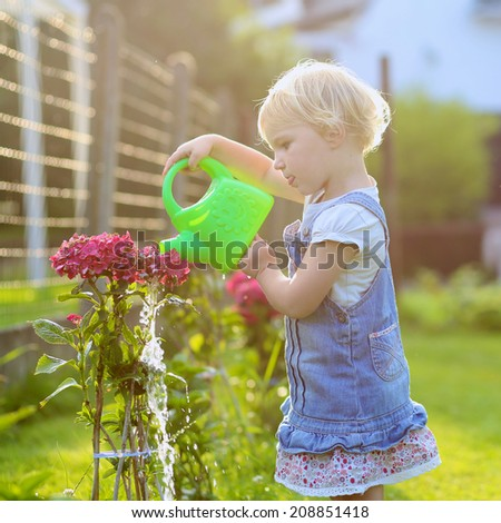 Little child, adorable blonde toddler girl, giving water to the plants, beautiful hortensia flowers, from watering can in the garden at the backyard of the house on a sunny summer evening at sunset - stock photo