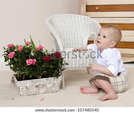 little child baby boy sitting on the floor indoors in baby room flowers roses - stock photo