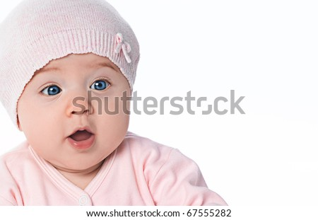 little child baby portrait on white background - stock photo