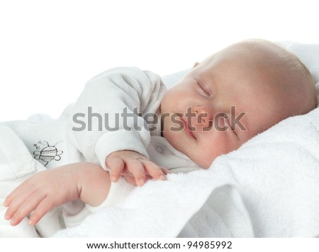 little child baby slipping on white - stock photo