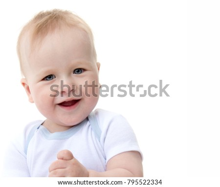 little child baby smiling  isolated on white studio shot happy sitting playing