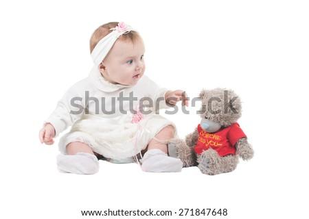 little child baby smiling on  isolated studio on white background - stock photo