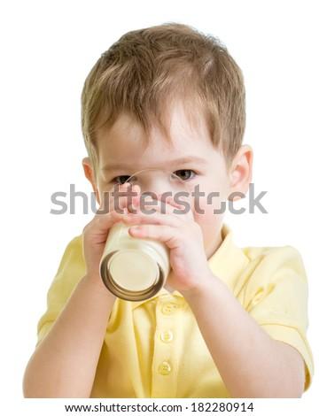 little child drinking milk or kefir isolated - stock photo