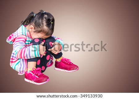 little child girl crying and sad  - stock photo