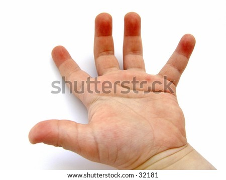 Little child hand Isolated on white background - stock photo