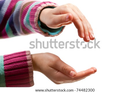 Little child hands open. Isolated on white background - stock photo
