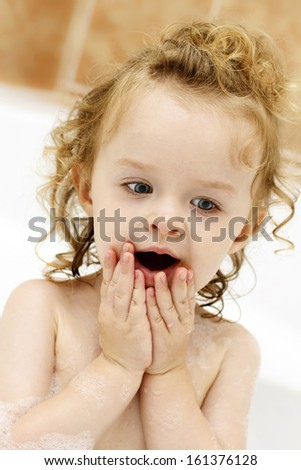 Little child in the bath - stock photo