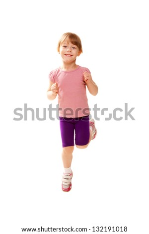 Little child jogging, playing sports. Healthy lifestyle since childhood. Isolated on white background - stock photo