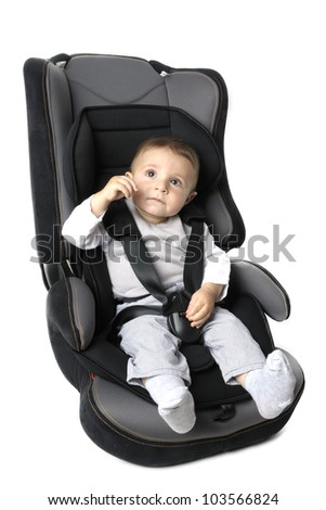 Little child on vehicle car safety - stock photo