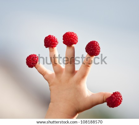 "Little child's hand with raspberry ""hats"" on fingers - stock photo"