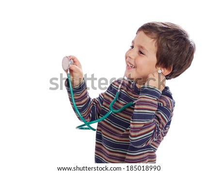 Little child with a stethoscope isolated on a white background - stock photo