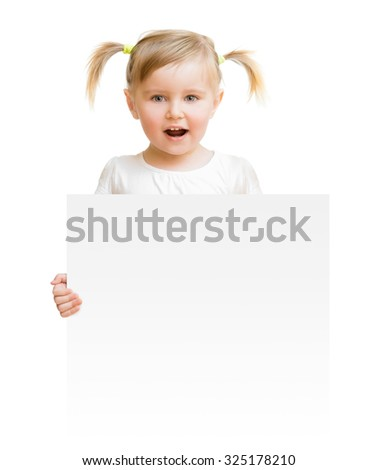 little child with board isolated on a white background - stock photo
