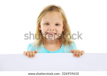 Little child with board isolated on  white  - stock photo