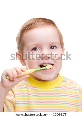 Little child with dental toothbrush brushing teeth.isolated on a white background.