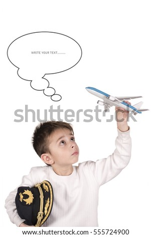 Little child with the illusion of being a pilot in the future