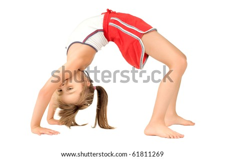 little children girl  to arch the back,  head over heels o, on white background, isolated - stock photo
