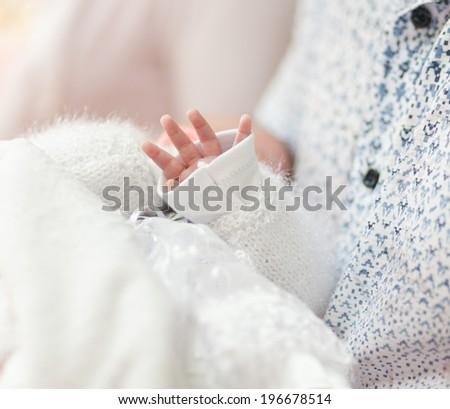 Little children hand  in church - stock photo