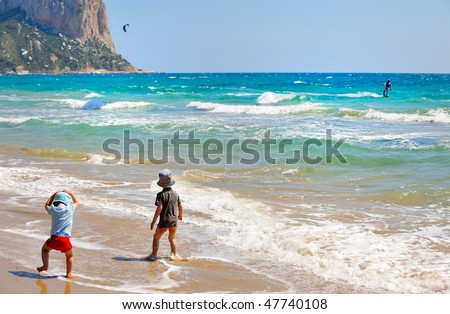 little children on the beach