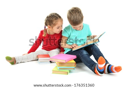 Little children with books isolated on white - stock photo