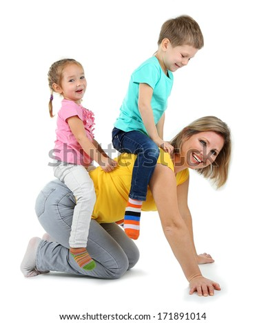 Little children with nice mom isolated on white - stock photo