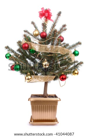 little christmas tree with decorations in golden pot over white background - Little Christmas Tree