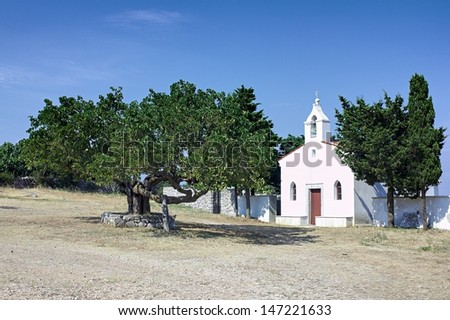 Little church and cemetery on the Cres island, Croatia