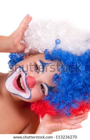 Little clown boy - portrait, isolated - stock photo