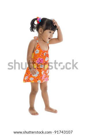 little confused girl scratching her head, isolated on white background