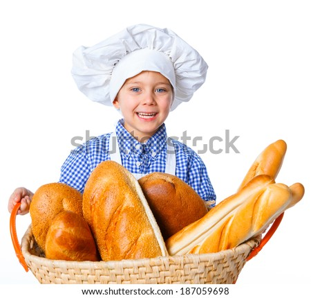 Little Cook With A Backet With Bread. Isolated on white background. - stock photo