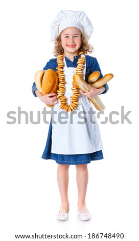 Little Cook With Bread and Bagels. Isolated on white background. - stock photo
