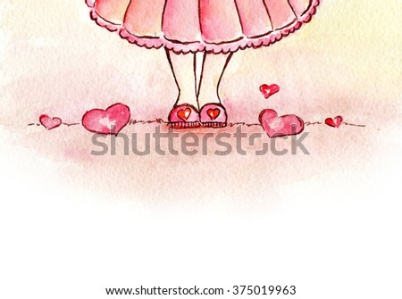 Little Coquette Girl and Hearts on a Ground. Hearts under Feet. Watercolor cartoon illustration