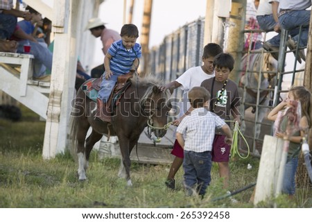 Little cowboys riding pony at PRCA Rodeo at Lower Brule, Lyman County, Lower Brule Sioux Tribal Reservation, South Dakota, 58 miles Southeast of Pierre near Missouri River, August 10, 2007