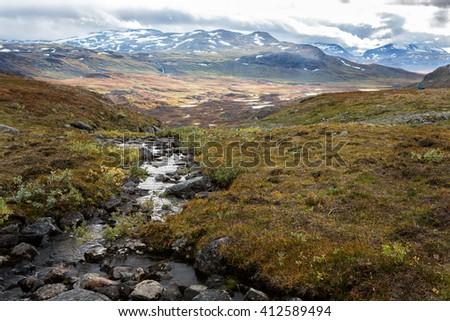 little creek in Lappland - stock photo