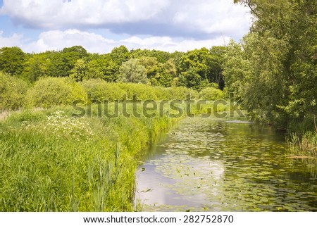 Little creek in Springtime, Pfefferfliess. Was seen near Bad Belzig, in Brandenburg, in the Nuthe-Nieplitz Nature Park. This landscape is a result of land amelioration. - stock photo