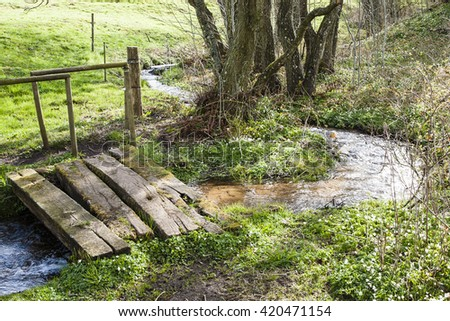 little creek in the danish landscape - stock photo