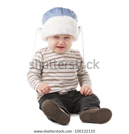 little crying boy - stock photo