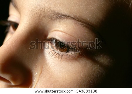 Little crying boy, close up view